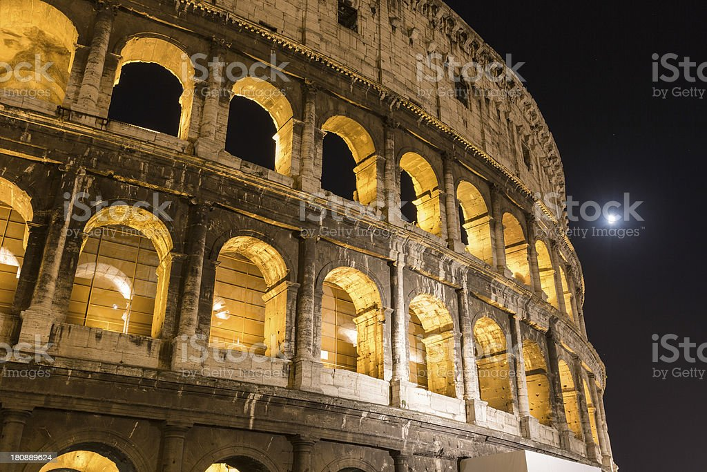 Colosseum in Rome at Night royalty-free stock photo
