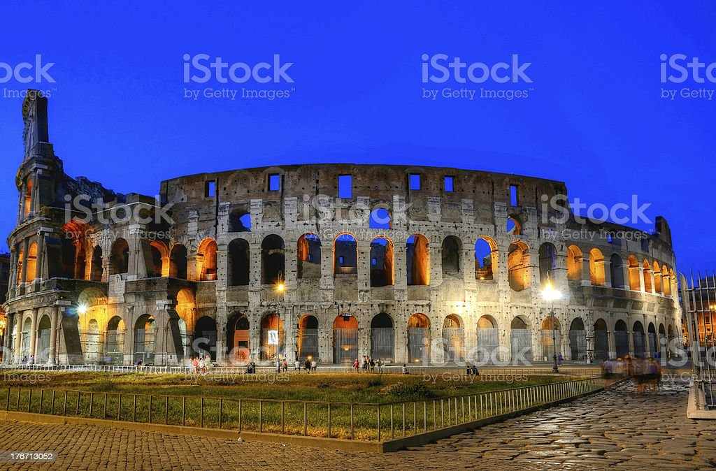 Colosseum in Rome by night royalty-free stock photo