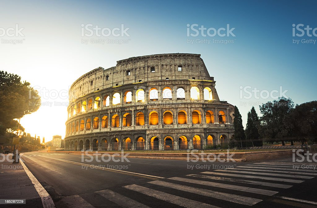 Colosseum in Rome, Italy at sunrise stock photo