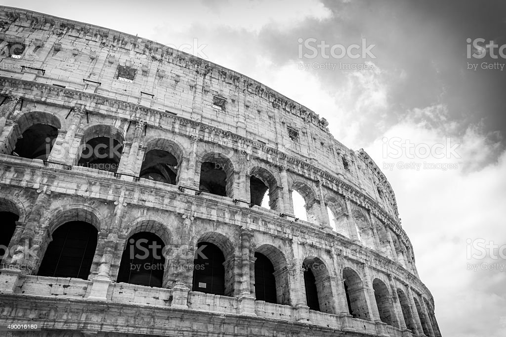 Colosseum in Rome, Italy. Monochrome low angle view stock image. stock photo