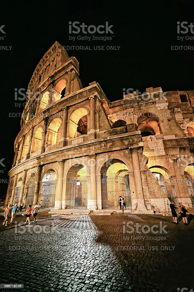 Colosseum in the city center of Rome Italy at twilight stock photo