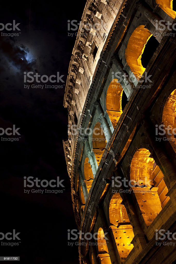 Colosseum in the moonlight royalty-free stock photo
