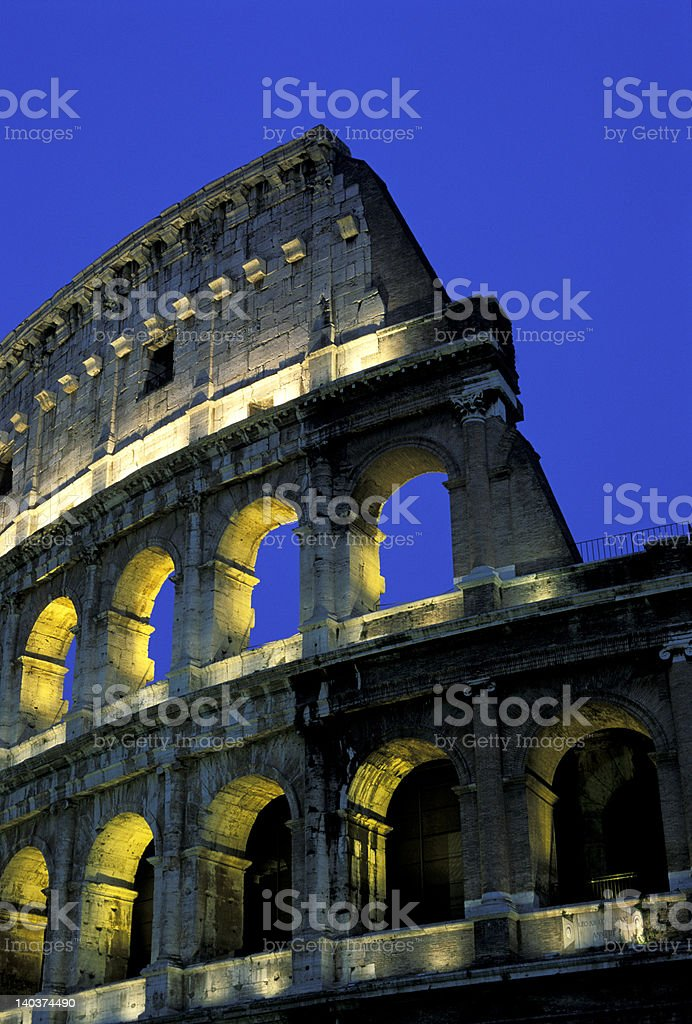 colosseum in the night royalty-free stock photo