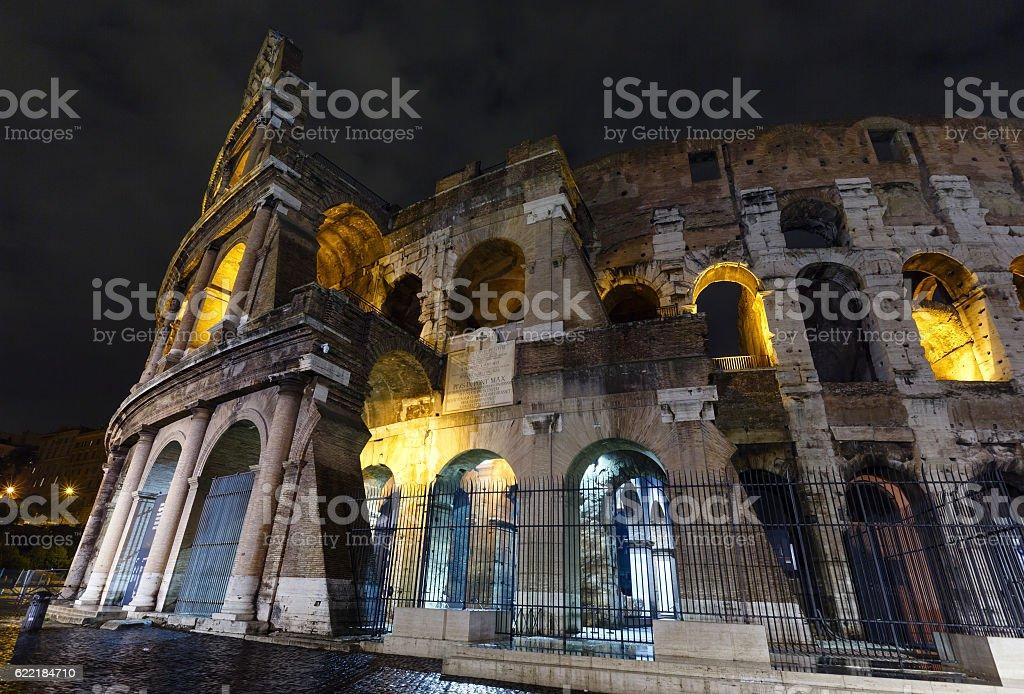 Colosseum night view, Rome. stock photo