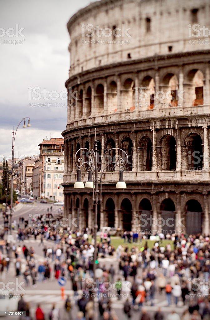 Colosseum of Rome through tilt shift lens royalty-free stock photo