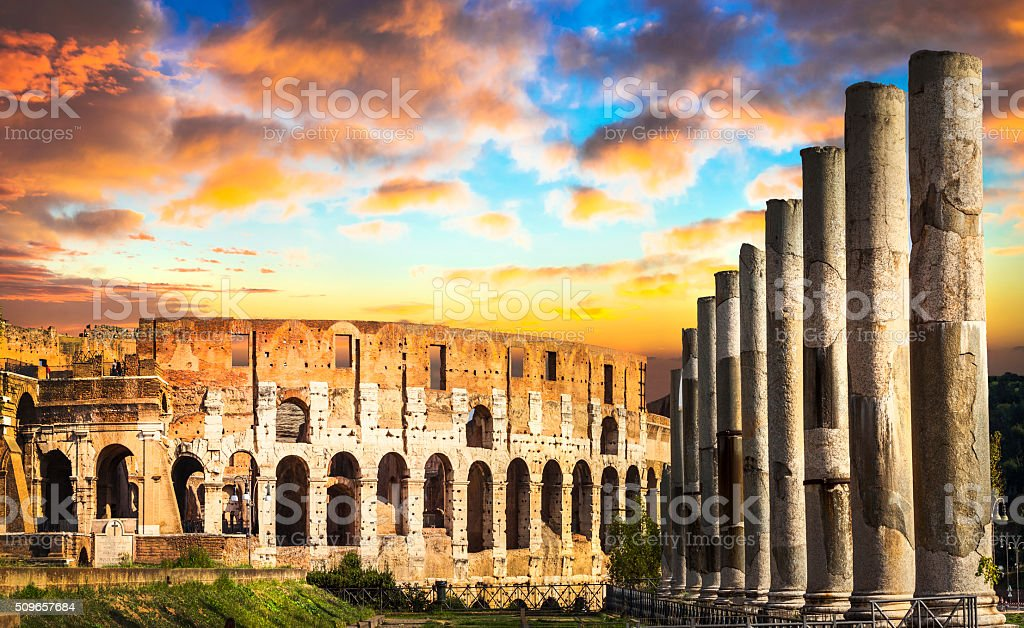 Colosseum over sunset, Rome, Italy stock photo