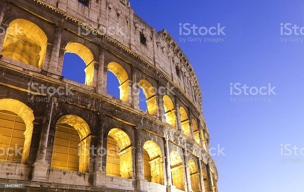 Colosseum Rome Italy at night - detail royalty-free stock photo