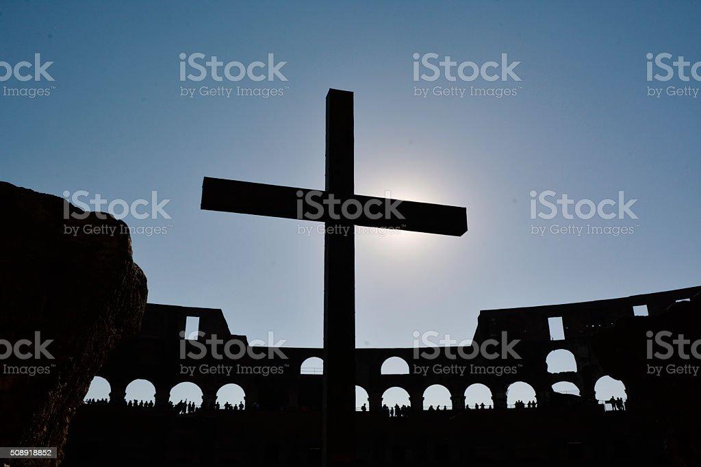 Colosseum Shadow Cross stock photo