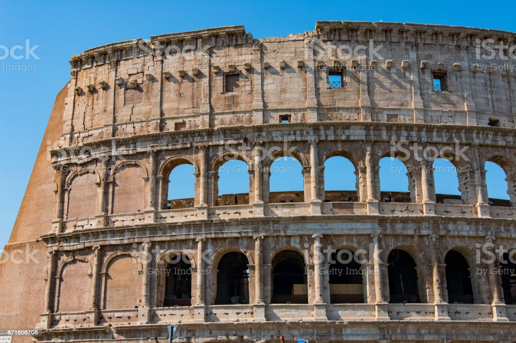 Colosseum - the main tourist attractions of Rome, Italy. Ancient Rome Ruins of Roman Civilization. stock photo