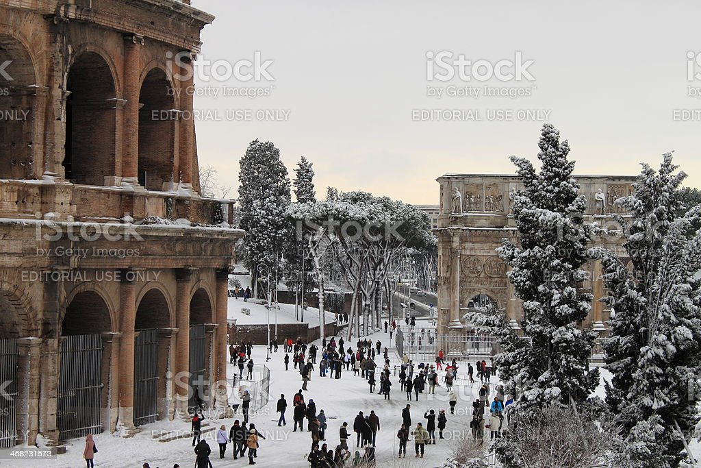 Colosseum under snow royalty-free stock photo