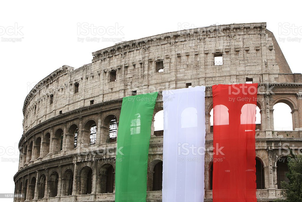Colosseum with the Italian flag, Rome Italy royalty-free stock photo