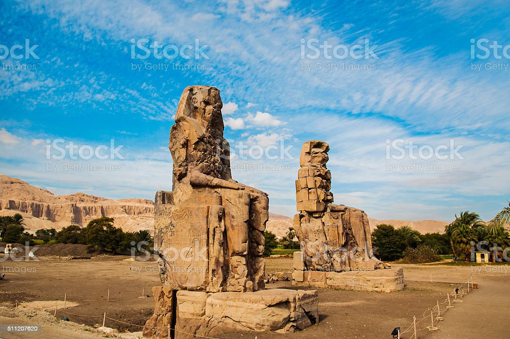 Colossi of Memnon - Ancient Egyptian Monuments stock photo