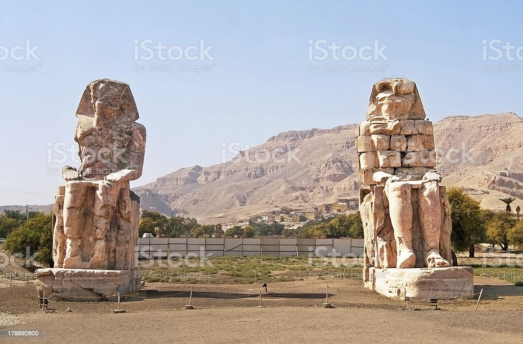 Colossi of Memnon at Luxor, Egypt royalty-free stock photo