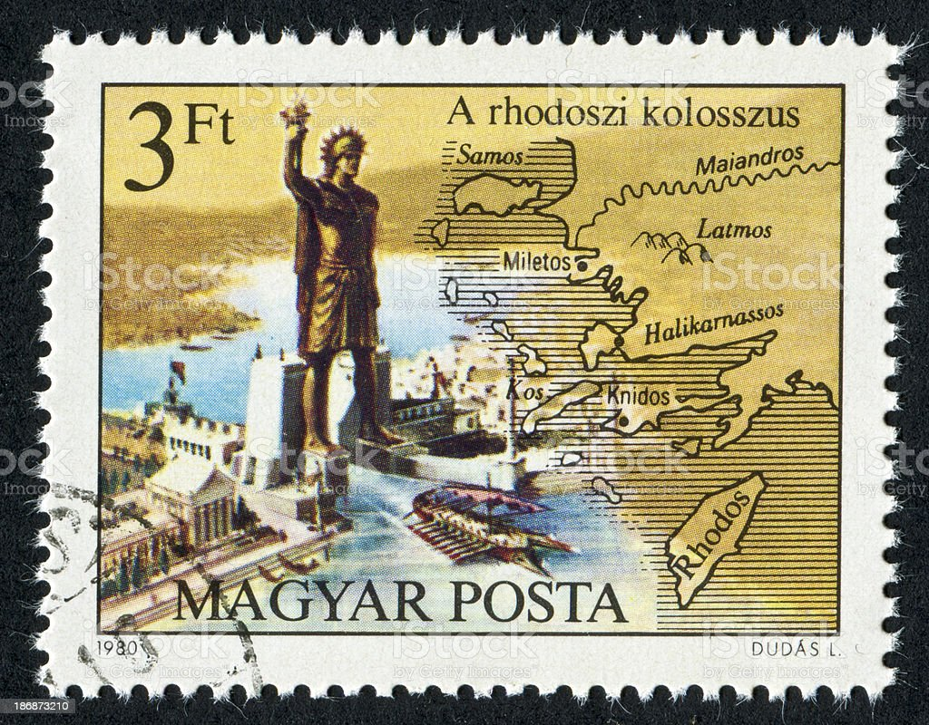 Colossus Of Rhodes Stamp stock photo