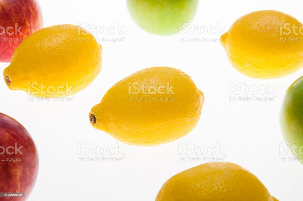Colouful fruit, apple and lemon stock photo