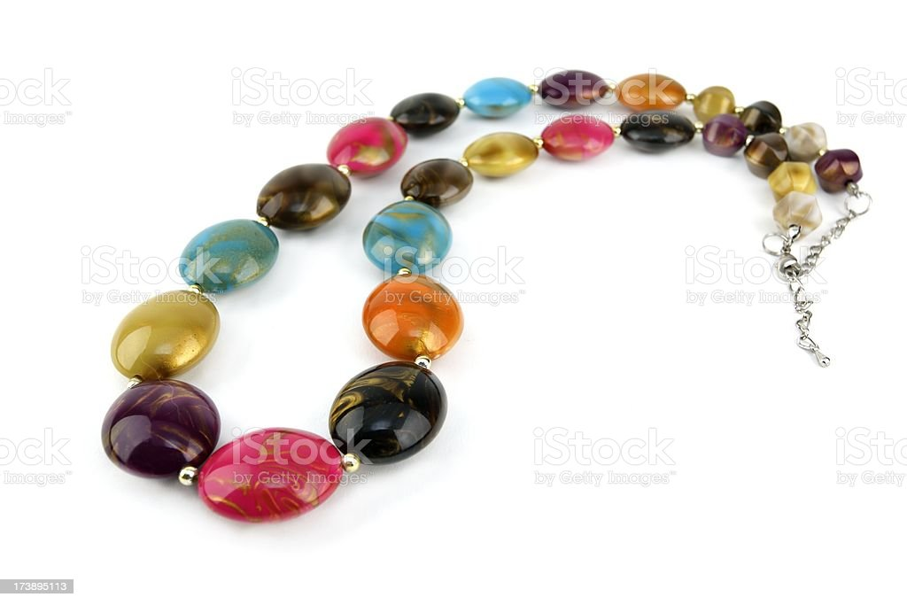 Colour bead necklace. royalty-free stock photo
