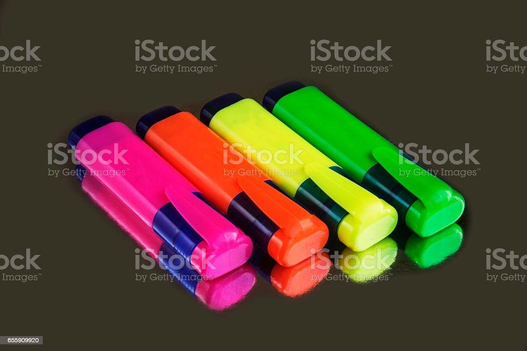 Colour florescent pen markers stock photo