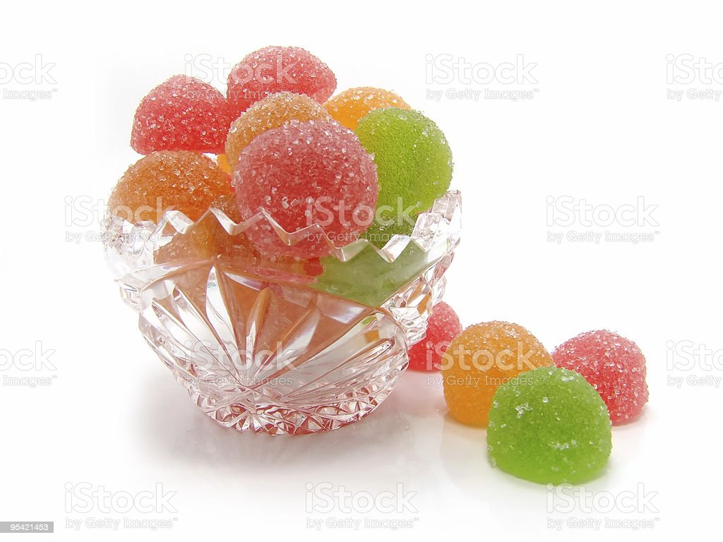 Colour fruit candy in a crystal vase royalty-free stock photo