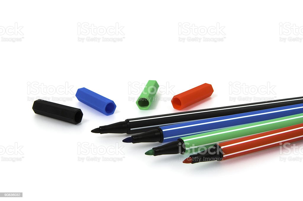 Colour Markers with caps (isolated on white) royalty-free stock photo