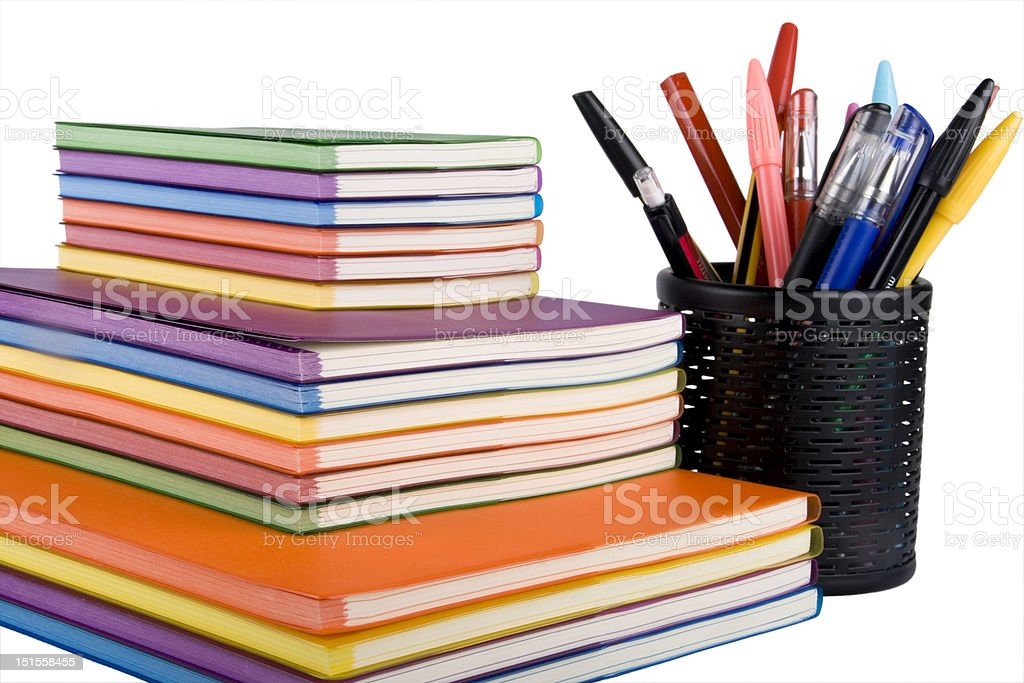 colour notebooks and pen container royalty-free stock photo