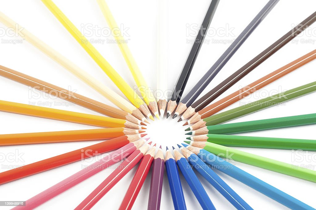 Colour pencils in circle stock photo