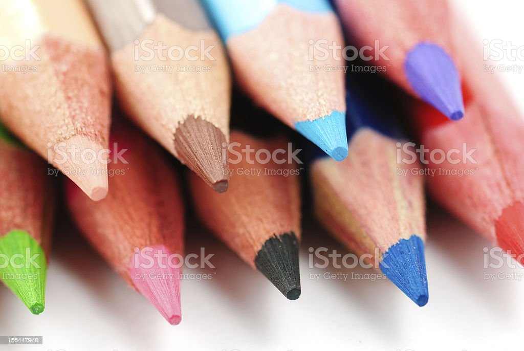 Colour pencils isolated on white background close up royalty-free stock photo