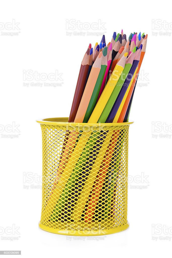 Colour pencils isolated stock photo