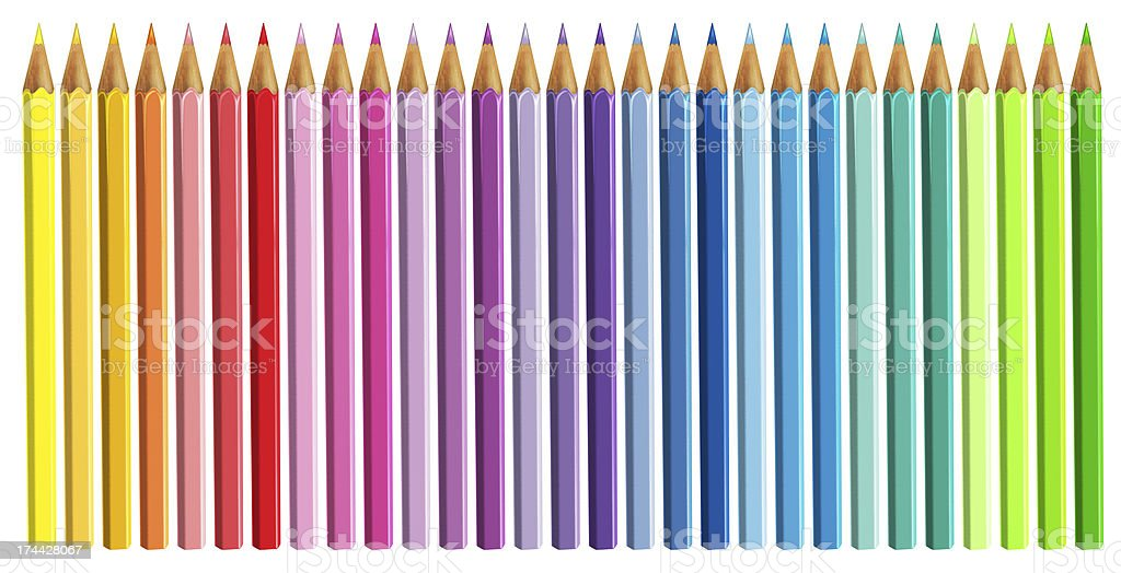 Colour pencils on white background royalty-free stock photo
