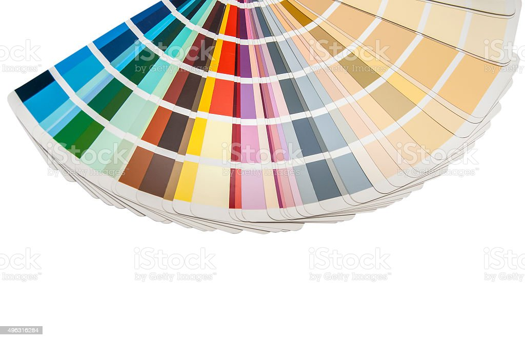 Colour swatches book on white background stock photo