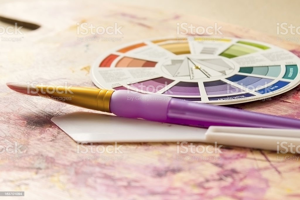 Colour Wheel and Painting Accessories royalty-free stock photo