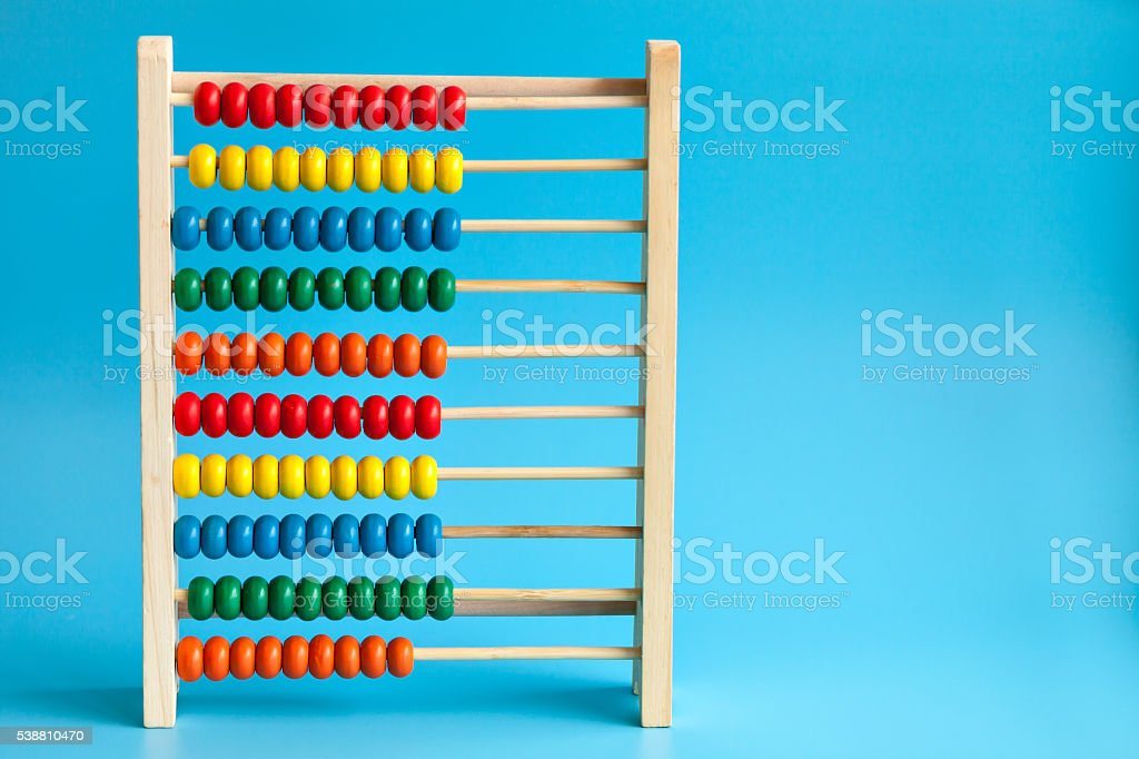 Colour wooden abacus stock photo
