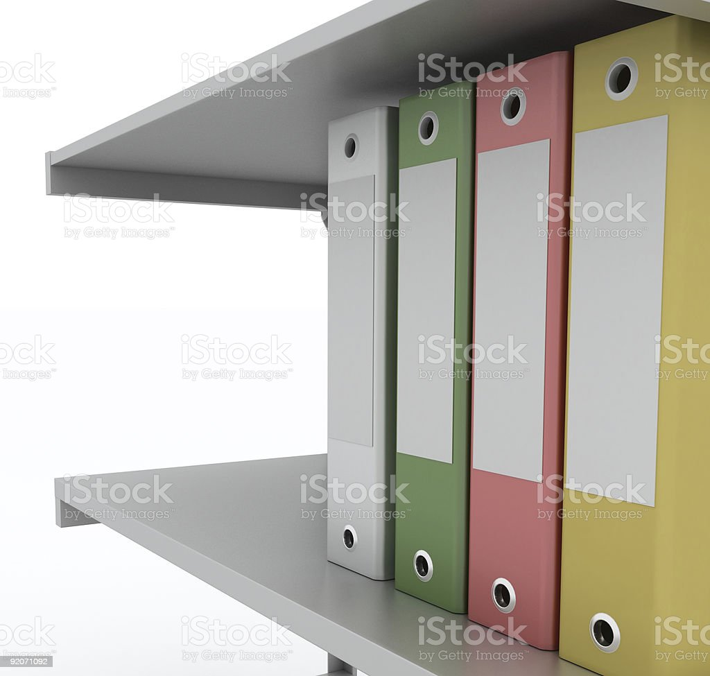 Coloured binders (isolated on white) royalty-free stock photo