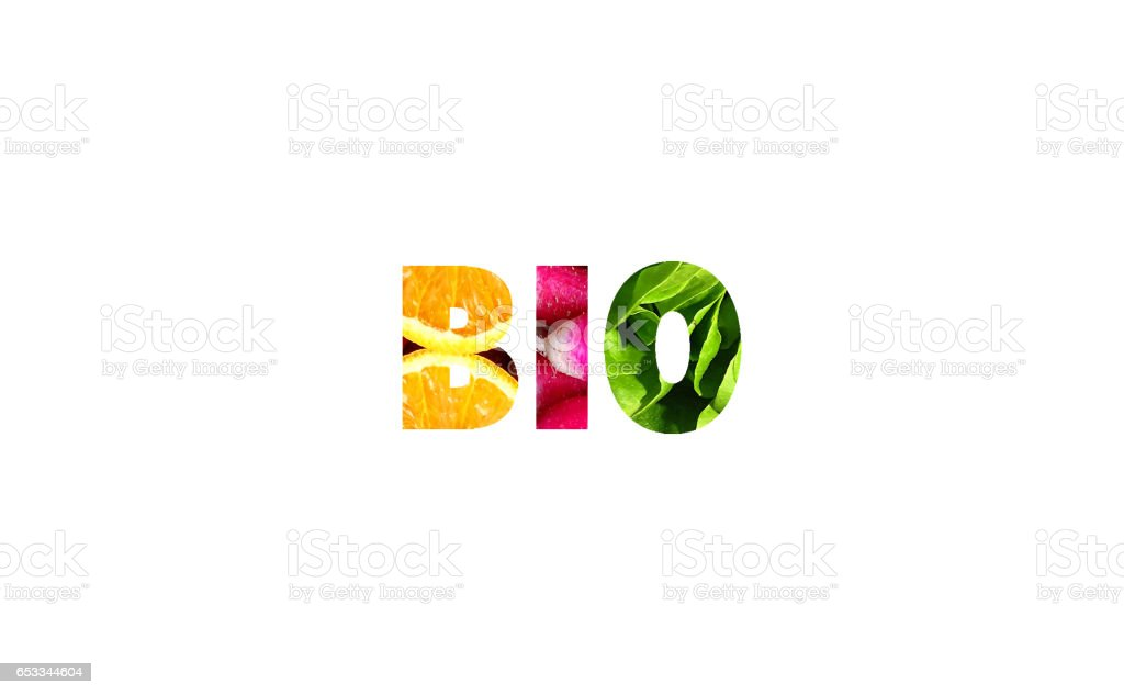 Coloured BIO word with fruit and vegetable pattern. White background. stock photo