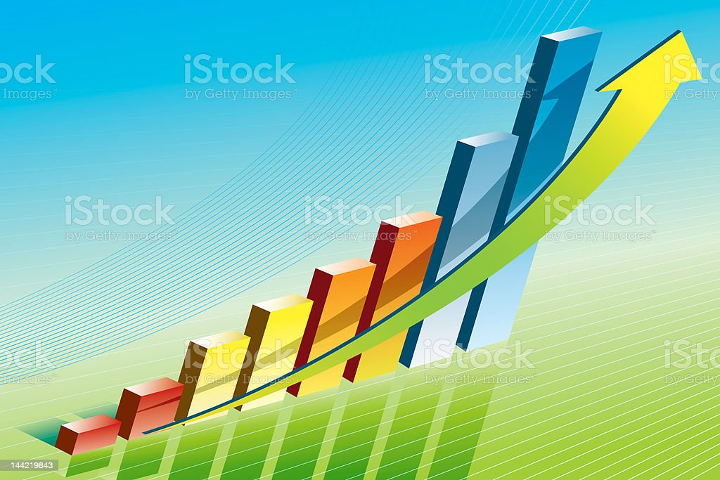 coloured business graph royalty-free stock photo