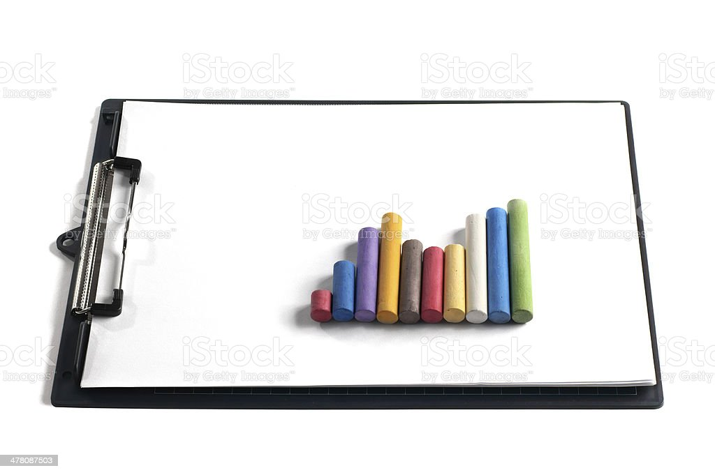 Coloured Chalk on Blank Clipboard royalty-free stock photo