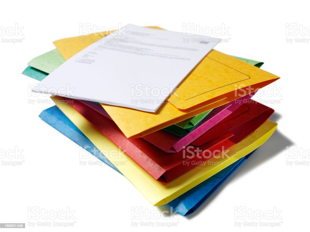 Coloured Files in a Pile royalty-free stock photo