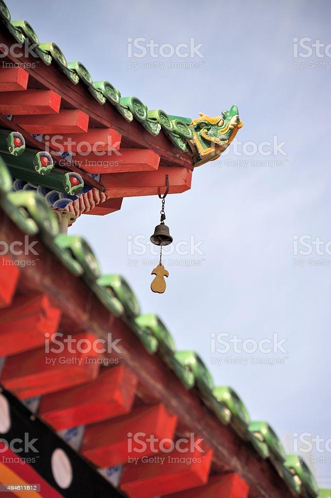 Coloured glaze eave of Ta'er Lamasery stock photo