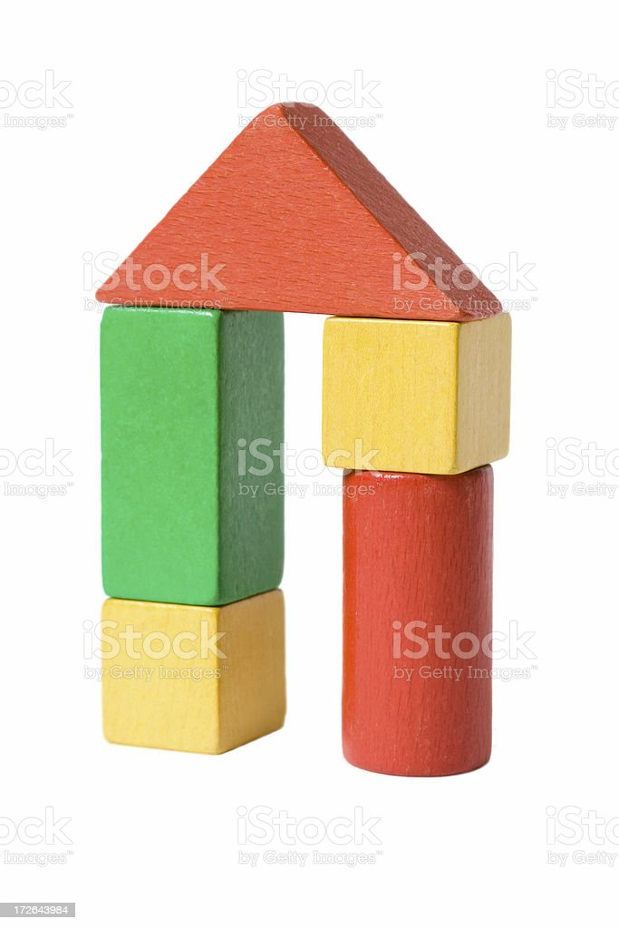 Coloured house of building blocks royalty-free stock photo