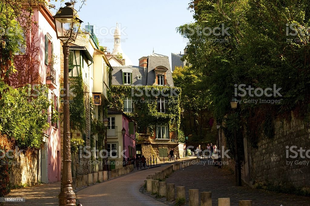 Coloured houses in Monmartre stock photo