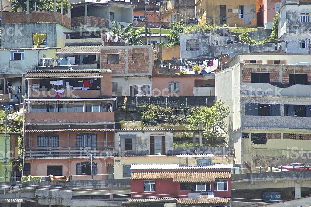 Coloured houses on the hillside in Angra dos Reis, Brazil royalty-free stock photo