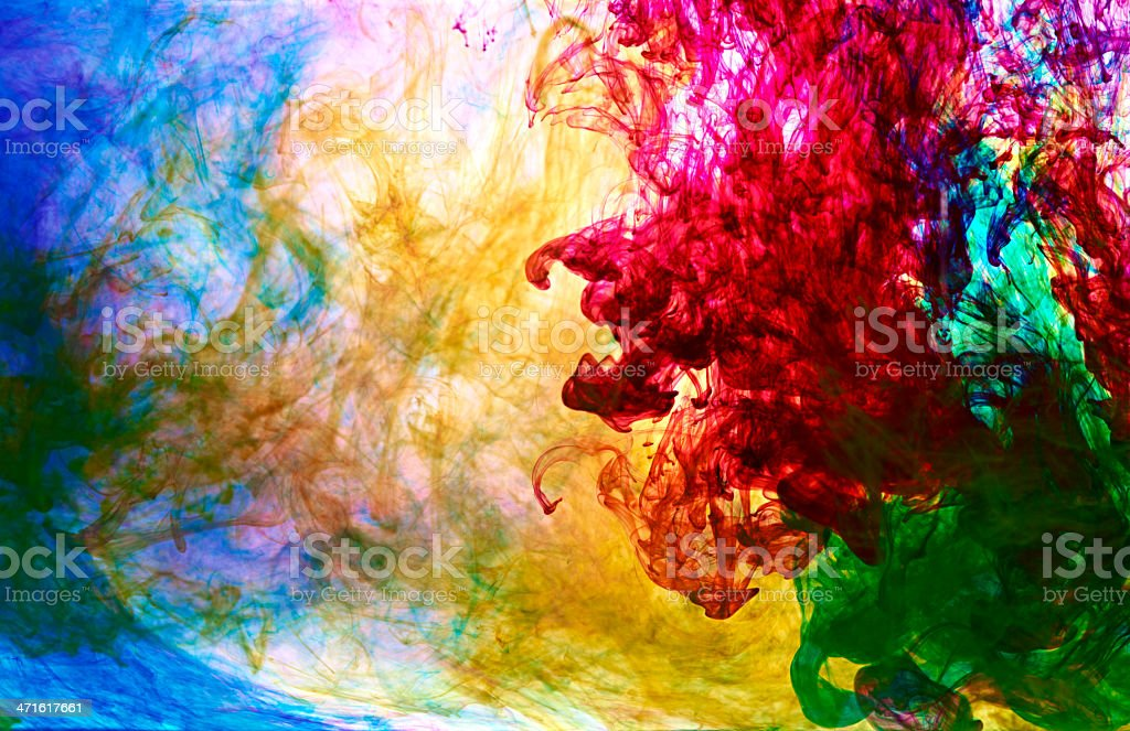 coloured ink in Water stock photo