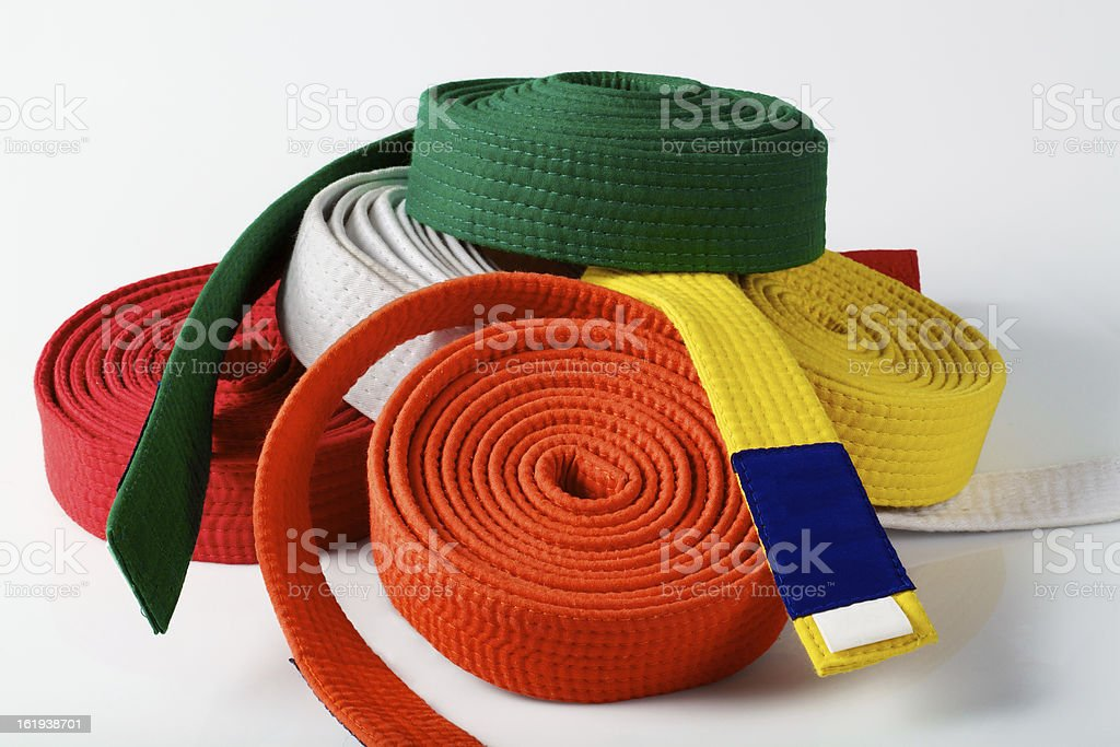Coloured karate belts royalty-free stock photo