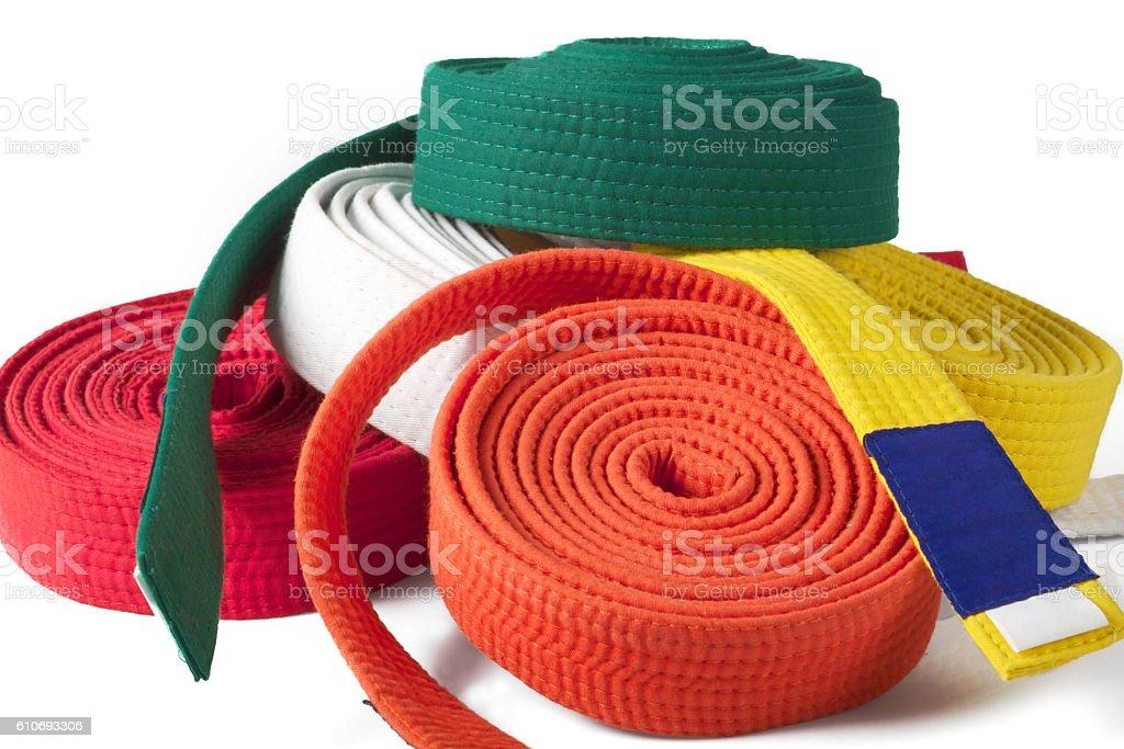 Coloured karate belts stock photo