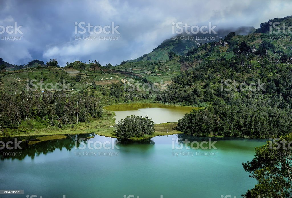 Coloured Lake Dieng Plateau stock photo
