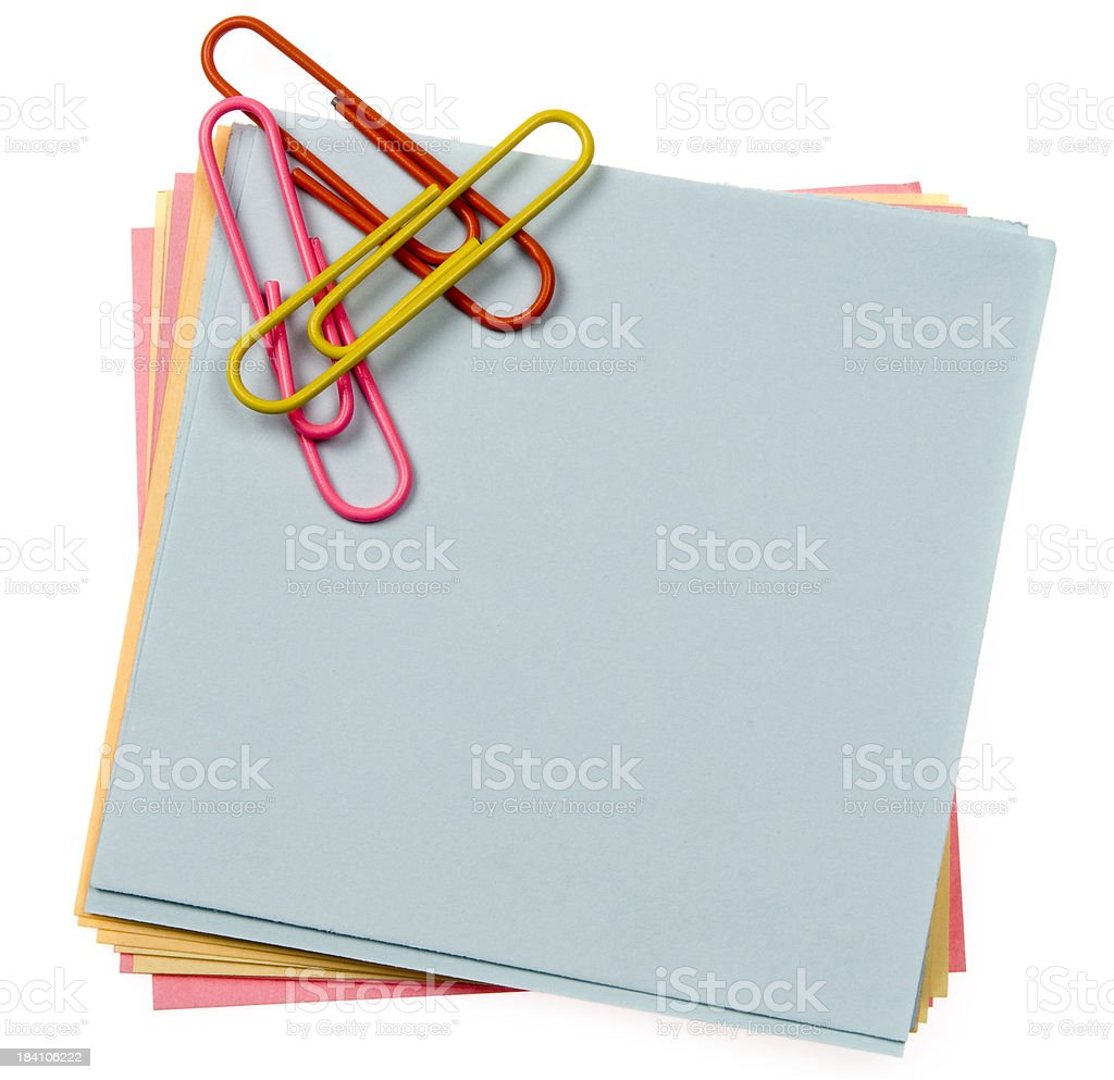 Coloured notes and clips royalty-free stock photo
