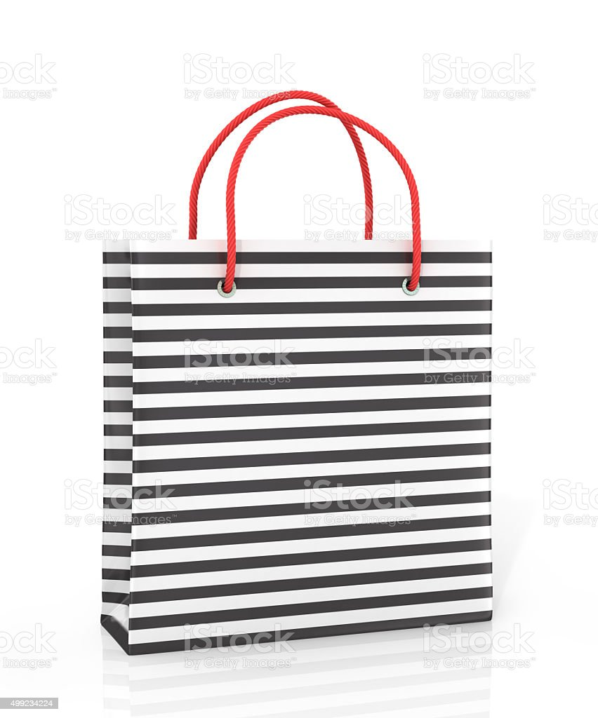 Coloured package with tags on white background. stock photo