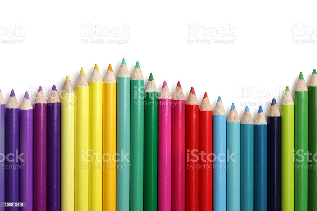 Coloured pencil bar graph stock photo