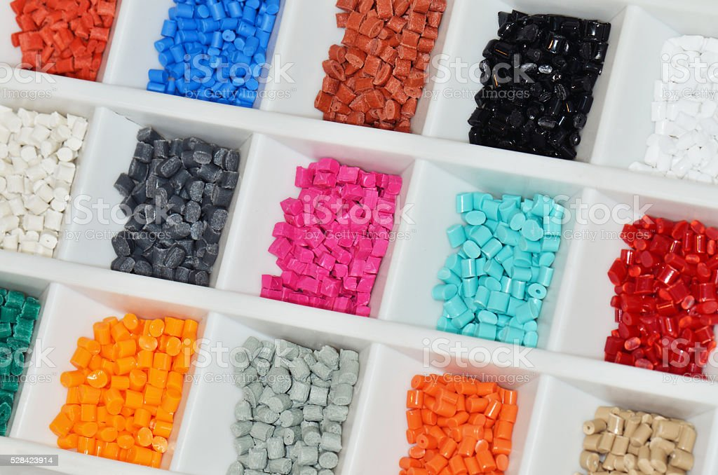 coloured polymer resin stock photo