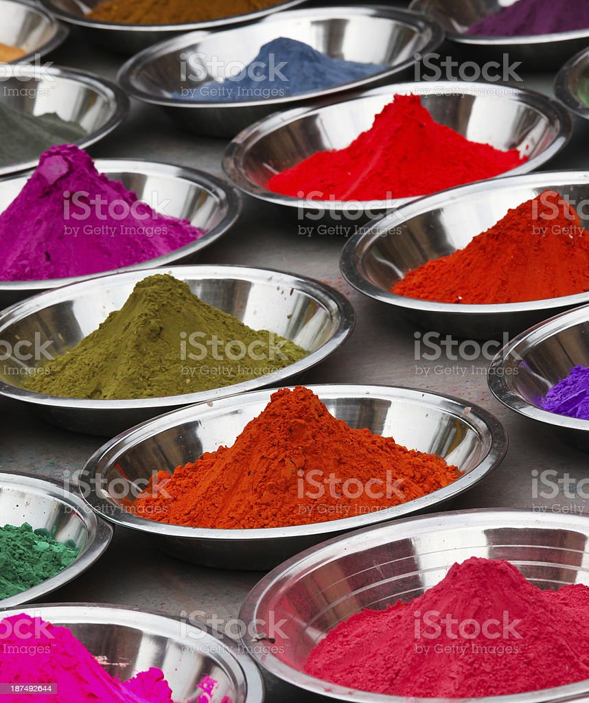 Coloured powders at market in Orchha, India stock photo