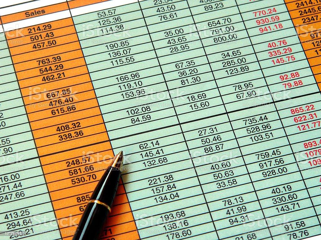 Coloured spreadsheet royalty-free stock photo